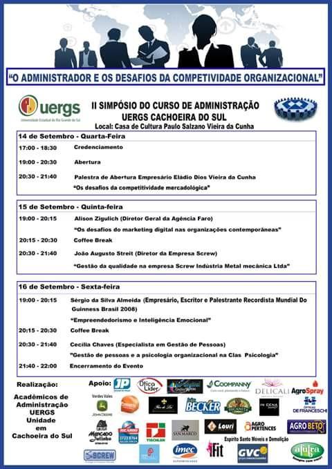 II Simpósio do Curso de Administração UERGS Cachoeira do Sul