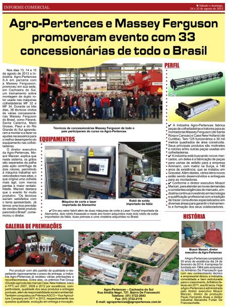 AGRO-PERTENCES E MASSEY FERGUSON PROMOVERAM EVENTO COM 33 CONCESSIONÁRIAS DE TODO O BRASIL